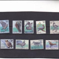 Un lot de timbre st diferite PASARI japoneze