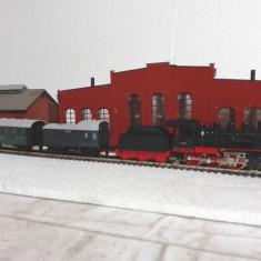 Set trenulet trix cu locomotiva BR24 scara ho - Macheta Feroviara Alta, 1:87, Vagoane