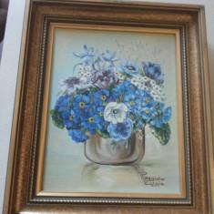 Pictura veche, pe panza, in ulei, Petra Magister Caloja-Natura statica, flori - Pictor strain, Art Deco