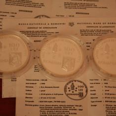 ROMANIA SET BNR 3 MONEDE 100 LEI 1998 OLIMPIADA NAGANO PATINAJ+BOB+SLALOM PROOF - Moneda Romania, Argint
