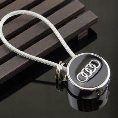 Breloc auto pentru auto audi metalic argintiu + ambalaj cadou