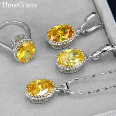 Set argint 925 marcat - Galben /yelow - Femei /Cristale /Cutie - Set bijuterii argint