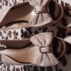 Sandale din piele dama - Sandale dama Campri, Culoare: Crem, Marime: 38
