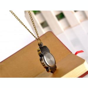 Lantisor aliaj cu ceas in forma de bufnita, ceas de buzunar