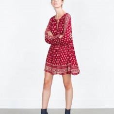 Rochie ZARA Trafaluc; model etinic - Rochie de zi, Marime: S, Culoare: Rosu