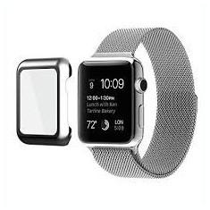 Husa slim cu protectie ecran pentru Apple Smart Watch 42 mm, gold rose