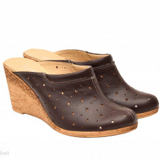 Saboti dama maro din piele naturala cu perforatii cod SB18 - Made in Romania - Sabot dama, Marime: 35, 36, 37, 38, 39, 40, 41