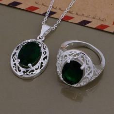 Set argint 925 marcat - Verde /Green - argint /Cutie cadou - Set bijuterii argint