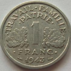 Moneda 1 Franc - FRANTA, anul 1943 *cod 320 Allu., Europa, Aluminiu