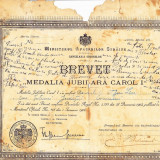 Brevet Medalia jubiliara Carol I,1906