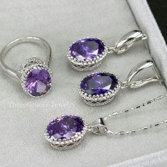 Set argint 925 marcat - Ametist /Mov - Topaz /Cristale /Cutie /Pietre - Set bijuterii argint