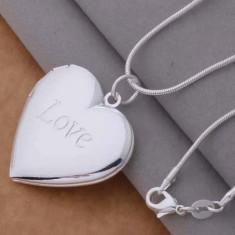Medalion argint 925 marcat - Inima /Heart - Cutie cadou/Se deschide - Set bijuterii argint