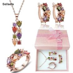 Set Aur 18k - Multicolor - Placat /Femei /Cristale /Cutie cadou - Set bijuterii placate cu aur