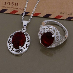Set argint 925 marcat - Rosu /Red - Placat /Pietre prețioase /Cutie - Set bijuterii argint