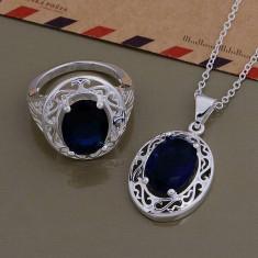 Set argint 925 marcat - Albastru/Blue - argint /Cutie cadou - Set bijuterii argint