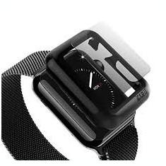 Husa slim cu protectie ecran pentru Apple Smart Watch 38 mm negru
