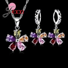 Set argint 925 marcat - Florii - Femei /Cristale /Cutie cadou - Set bijuterii argint