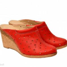 Saboti dama rosii din piele naturala cu perforatii cod SB17 - Made in Romania - Sabot dama, Culoare: Rosu, Marime: 35, 36, 37, 38, 39, 40, 41
