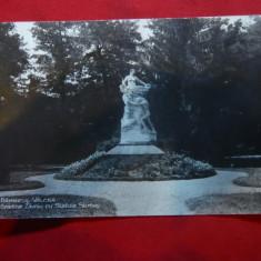 Ilustrata Ramnicu-Valcea - Gradina Zavoiu cu Statuia lui Stirbei 1933 Hachette - Carte Postala Muntenia dupa 1918, Circulata, Fotografie