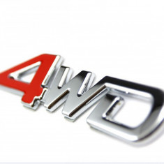 Sigla auto 4WD Emblema metalica logo cu adeziv inclus for weel drive