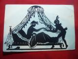 Ilustrata - Felicitare - Scena de Budoir pe negativ , inc.sec.XX, Necirculata, Printata
