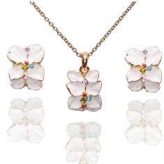 Set Aur - Floare albă - Cercei/Medalion - Aur placat 18k - Cristale/Femei - Set bijuterii placate cu aur