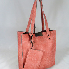Geanta dama roz mare cu portofel+CADOU, Culoare: Din imagine