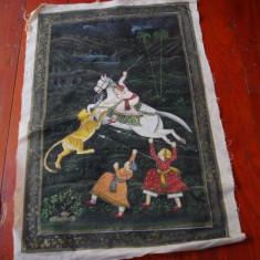 Stampa de dimensiuni mari pictura pe panza de matase - vanatoare de Tigru !!! - Broderie