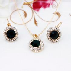 Set Aur - Albastru închis - Cercei/Medalion - Aur placat 18k - Cristale/Femei - Set bijuterii placate cu aur