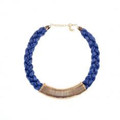 Colier fantezie impletit albastru - Colier fashion