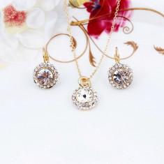 Set Aur - Alb - Cercei/Medalion - Aur placat 18k - Cristale/Femei/Elegant - Set bijuterii placate cu aur