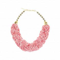 Colier roz impletit margele - Colier fashion