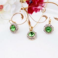 Set Aur - Verde - Cercei/Medalion - Aur placat 18k - Cristale/Femei/Elegant - Set bijuterii placate cu aur