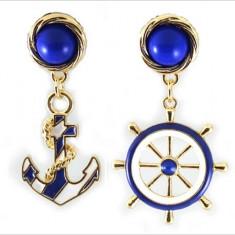 Pereche/Set - Cercei Alb/Albastru - Ancoră/Nautic/- Noi/Micuți/Alb-Albastru