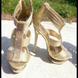 Pantofi - Pantof dama, Culoare: Auriu, Marime: 36
