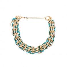Colier turcoaz auriu impletit - Colier fashion