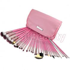 Trusa 31 Pensule Machiaj Profesionale Fraulein38 Germania Pink Candy cu borseta - Pensula machiaj