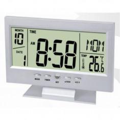 Ceasul Electronic Digital cu Senzor Acustic Alarma si Termometru - Statie meteo