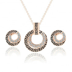 Set Aur 18K  - Negru/Auriu - Cercei/Medalion - Femei/Placat/Cutie cadou