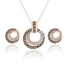 Set Aur 18K - Negru/Auriu - Cercei/Medalion - Femei/Placat/Cutie cadou - Set bijuterii placate cu aur