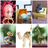 Cutie Bijuterii/Bibelou - Ou Faberge/Broasca/Camila/Girafa/Bufnita/Scoica/Metal