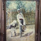 Ulei pe carton, pictura foarte veche - Tablou autor neidentificat, Peisaje, Altul