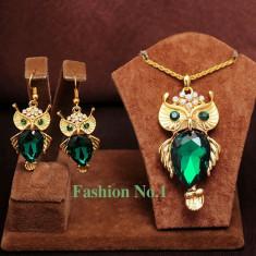 Set Aur 18K - Verde/Green - Bufnita/Owl - Cercei/Medalion - Placat/Cutie cadou - Set bijuterii placate cu aur