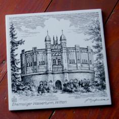 Placa de faianta model deosebit pentru decor - Castel din Germania / semnata !