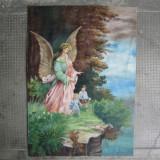 Pret final! Pictura veche in ulei, tablou vechi pe panza Inger pazitor - Pictor roman, Flori, Altul