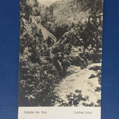 Gorj - Defileul Jiului - Carte Postala Muntenia 1904-1918, Circulata, Fotografie