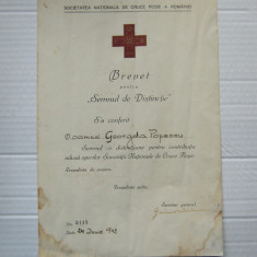 Brevet pt Insigna Societatii Natioanale de Cruce Rosie a Romaniei WW2 1942 Rar