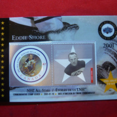 Carnet Prezentare a Seriei de timbre Hokey - Eddie Shore 2001 Canada , 1 val.