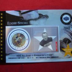 Carnet Prezentare a Seriei de timbre Hokey - Eddie Shore 2001 Canada, 1 val.