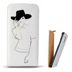 Toc Microsoft Lumia 435 Husa Piele Ecologica Flip Vertical Alba Model Women Draw V1 - Husa Telefon